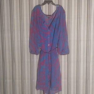 Express Sheer Plum and Blue Long Sleeve Dress